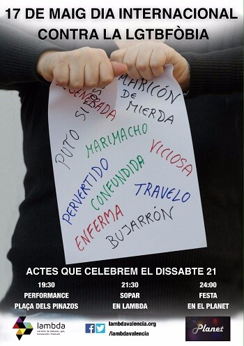Cartel del Dia contra la LGTBfòbia.