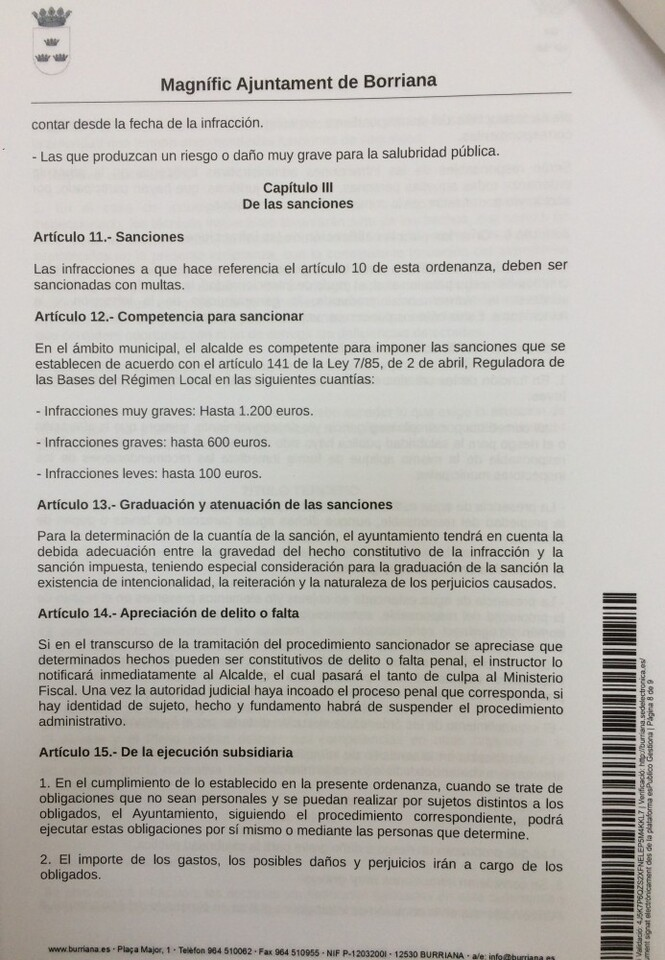 Régimen sancionador ordenanza mosquitos