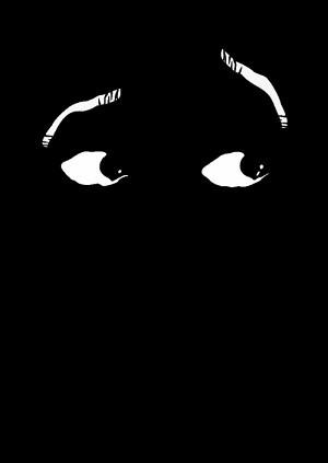 Se trata del trabajo presentado por el ilustrador Enrique Goñi en el que se pueden apreciar unos ojos sobre un fondo negro.