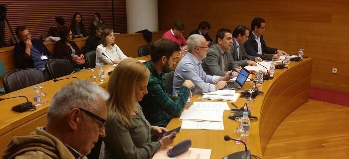 Toni Subiela durante la Comisión de Radiotelevisión Valenciana y del Espacio Audiovisual.