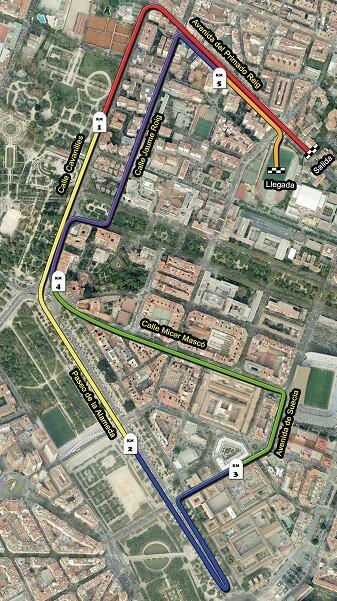 Plano de la V Carrera Universitat de València.
