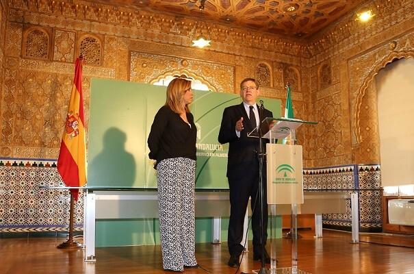 Puig y Díaz reivindican un cambio urgente en el modelo de financiación autonómico y mayores inversiones para el Corredor Mediterráneo.