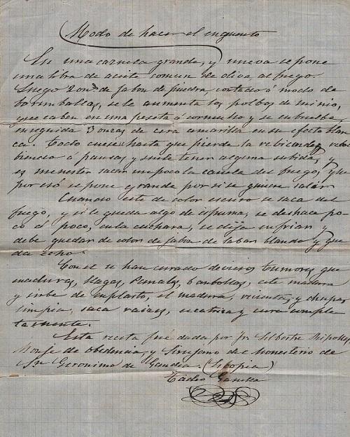 Receta para ungüento. Siglo XIX.