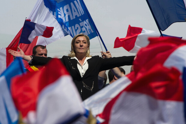 <> attends the French Far Right Party May Day demonstration on May 1, 2012 in Paris, France. Marine Le Pen, the daughter of the French far-right leader Jean-Marie Le Pen, received only 6.4 million votes in the first round of the presidential elections. Both Sarkozy and Hollande are now fighting to win support from the French Far Right ahead of the second round.