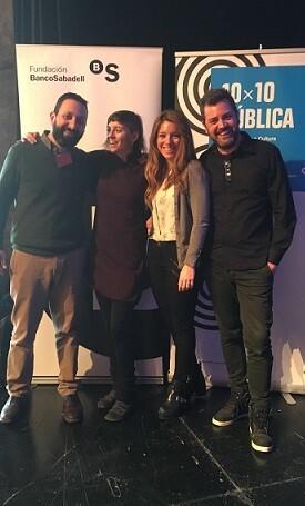 Parte del equipo de Creador.es y de Russafa Escénica en los premios Pública16.