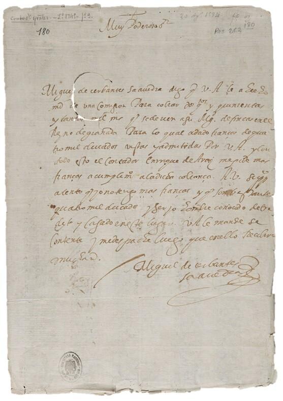 manuscrito_autografo_miguel_cervantes