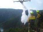 Aviones anfibios del Ministerio de Agricultura, Alimentación y Medio Ambiente combaten el fuego declarado en Tui (Pontevedra)
