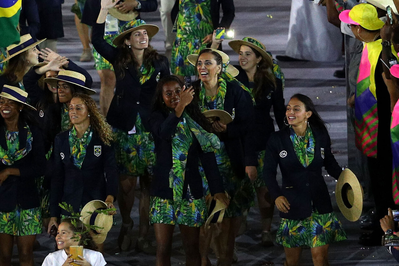 Olympians from Brazil capture the spirit and excitement of the Rio 2016 Olympic Games Opening Ceremony on the official Olympic Games phone, the Samsung Galaxy S7 edge Olympic Games Limited Edition, on Friday, August 5, 2016 in Rio de Janeiro, Brazil.