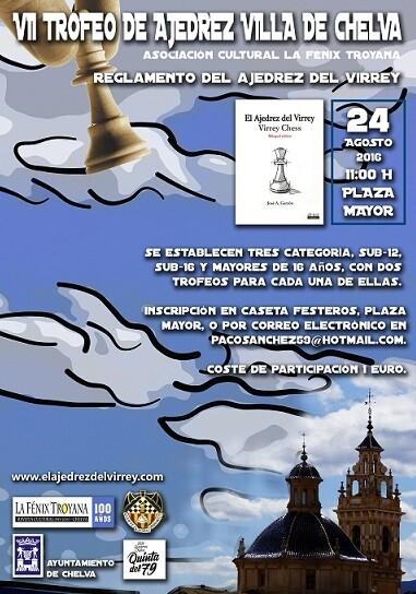 Cartel del Torneo de Chelva de Ajedrez del Virrey.