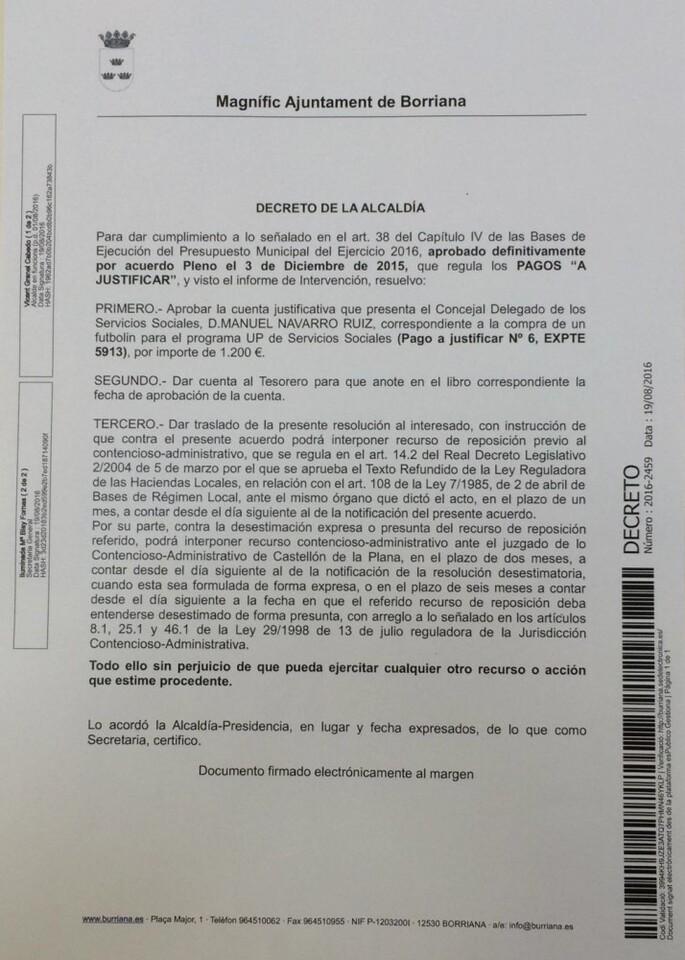Decreto alcaldía suscrito por Vicent Granel (en funciones)