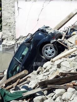 El pueblo de Accumoli se hundió 20 centímetros.