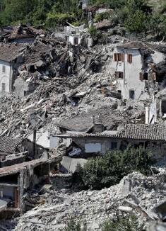 El pueblo de Amatrice está casi en ruinas.