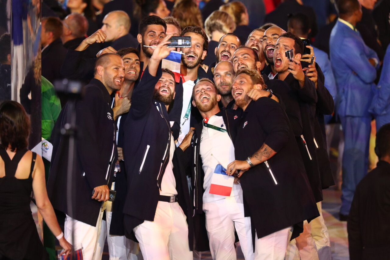 Olympians from the France capture the spirit and excitement of the Rio 2016 Olympic Games Opening Ceremony on the official Olympic Games phone, the Samsung Galaxy S7 edge Olympic Games Limited Edition, on Friday, August 5, 2016 in Rio de Janeiro, Brazil.