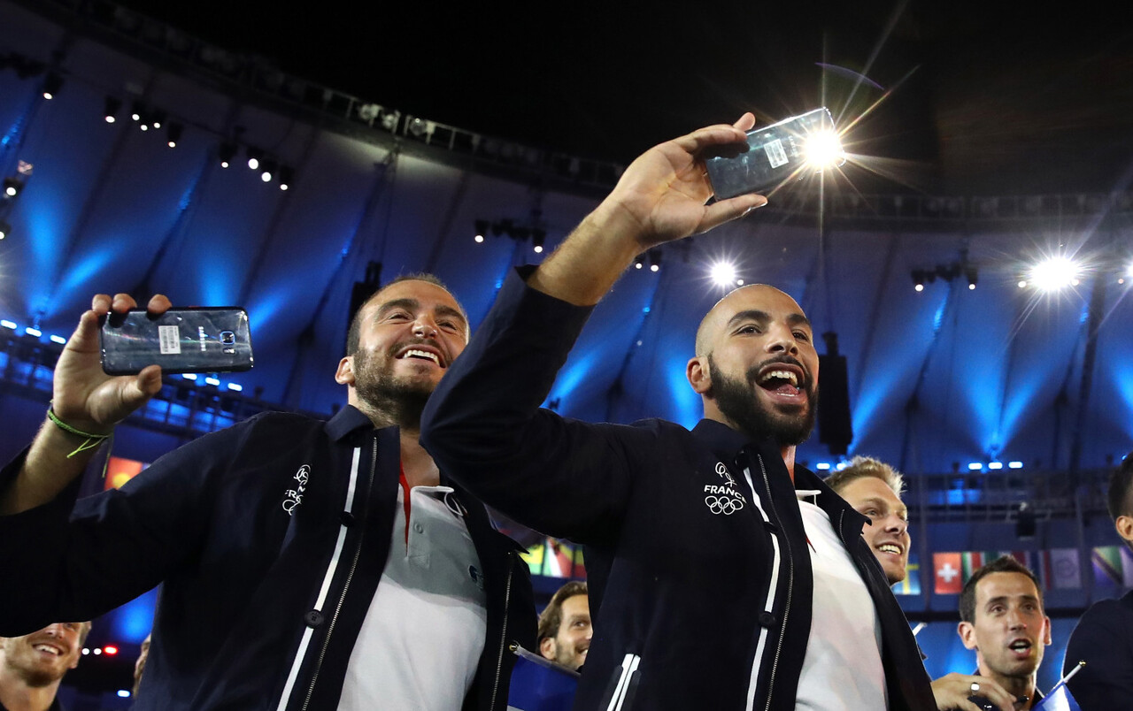 Olympians from France capture the spirit and excitement of the Rio 2016 Olympic Games Opening Ceremony on the official Olympic Games phone, the Samsung Galaxy S7 edge Olympic Games Limited Edition, on Friday, August 5, 2016 in Rio de Janeiro, Brazil.