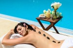 Woman in spa smiling