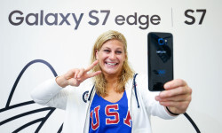 RIO DE JANEIRO, BRAZIL - AUGUST 03:  Kayla Harrison of the USA Judo team uses her Samsung Galaxy S7 edge Olympic Games Limited Edition at the Samsung Galaxy Studio in the 2016 Olympic Village on August 3, 2016 in Rio de Janiero, Brazil.  (Photo by Hagen Hopkins/Getty Images) *** Local Caption *** Kayla Harrison