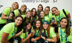 RIO DE JANEIRO, BRAZIL - AUGUST 03:  The Brazilian women's water polo team receive their Samsung Galaxy S7 edge Olympic Games Limited Edition smartphones at the Samsung Galaxy Studio in the 2016 Olympic Village on August 3, 2016 in Rio de Janiero, Brazil.  (Photo by Hagen Hopkins/Getty Images)