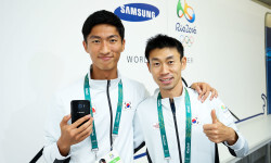 RIO DE JANEIRO, BRAZIL - AUGUST 03:  Byun Young Jun (R) and Byeong Kwang Choe of Korea during a visit to the Samsung Galaxy Studio in the Olympic Village on August 3, 2016 in Rio de Janiero, Brazil.  (Photo by Hagen Hopkins/Getty Images) *** Local Caption *** Byun Young Jun; Byeong Kwang Choe