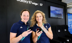 RIO DE JANEIRO, BRAZIL - AUGUST 03:  Rebecca Gallantree (L) and Alicia Blagg of Great Britain  receive their Samsung Galaxy S7 edge Olympic Games Limited Edition Smartphones at the Samsung Galaxy Studio in the 2016 Olympic Village on August 3, 2016 in Rio de Janiero, Brazil.(Photo by Hagen Hopkins/Getty Images)