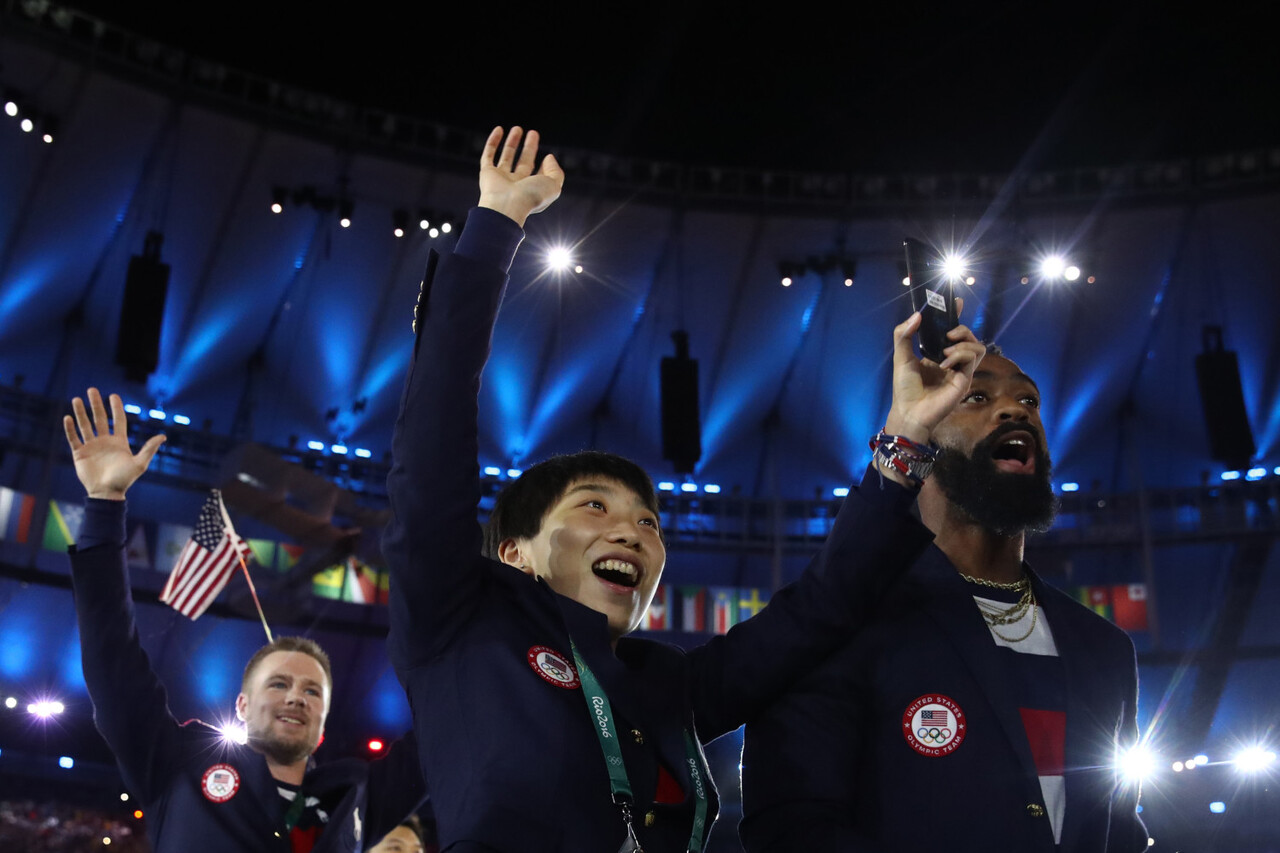 Olympians from the United States of America capture the spirit and excitement of the Rio 2016 Olympic Games Opening Ceremony on the official Olympic Games phone, the Samsung Galaxy S7 edge Olympic Games Limited Edition, on Friday, August 5, 2016 in Rio de Janeiro, Brazil.