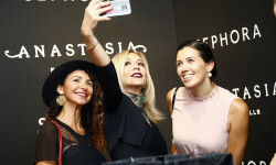 PARIS, FRANCE - SEPTEMBER 02:  Anastasia Soare (C) poses with guests for a selfie during the Anastasia Beverly Hills Launches Beauty Line Exclusively at Sephora Champs-Elysees on September 2, 2016 in Paris, France.  (Photo by Julien M. Hekimian/Getty Images for Sephora) *** Local Caption *** Anastasia Soare
