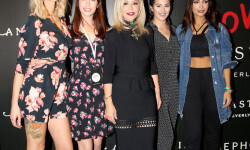 PARIS, FRANCE - SEPTEMBER 02:  (L-R) Sandrea, Babillages, Anastasia Soare, Horia and Sananas attend the Anastasia Beverly Hills Launches Beauty Line Exclusively at Sephora Champs-Elysees on September 2, 2016 in Paris, France.  (Photo by Marc Piasecki/Getty Images for Sephora) *** Local Caption *** Anastasia Soare; Sananas; Sandrea; Horia; Babillages