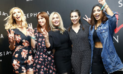 PARIS, FRANCE - SEPTEMBER 02:  (L-R) Sandrea, Babillages, Anastasia Soare, Horia and Sananas attend the Anastasia Beverly Hills Launches Beauty Line Exclusively at Sephora Champs-Elysees on September 2, 2016 in Paris, France.  (Photo by Julien M. Hekimian/Getty Images for Sephora) *** Local Caption *** Anastasia Soare; Sananas; Sandrea; Horia; Babillages