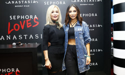 PARIS, FRANCE - SEPTEMBER 02:  (L-R Anastasia Soare and Sananas pose during the Anastasia Beverly Hills Launches Beauty Line Exclusively at Sephora Champs-Elysees on September 2, 2016 in Paris, France.  (Photo by Julien M. Hekimian/Getty Images for Sephora) *** Local Caption *** Sananas; Anastasia Soare