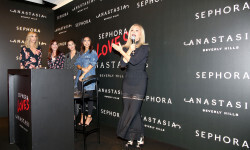 PARIS, FRANCE - SEPTEMBER 02:  Anastasia Soare speaks onstage during the Anastasia Beverly Hills Launches Beauty Line Exclusively at Sephora Champs-Elysees on September 2, 2016 in Paris, France.  (Photo by Marc Piasecki/Getty Images for Sephora) *** Local Caption *** Anastasia Soare
