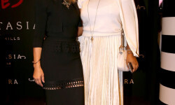 PARIS, FRANCE - SEPTEMBER 02:  Anastasia Soare (L) poses with a guest during the Anastasia Beverly Hills Launches Beauty Line Exclusively at Sephora Champs-Elysees on September 2, 2016 in Paris, France.  (Photo by Marc Piasecki/Getty Images for Sephora) *** Local Caption *** Anastasia Soare