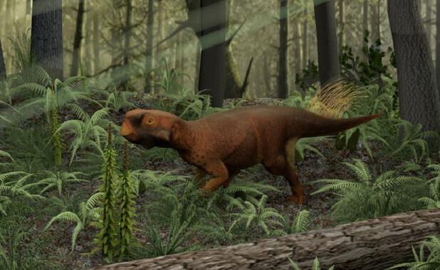 Reconstrucción delPsittacosaurio que vivía en bosques con vegetación densa. / Jakob Vinther et al.