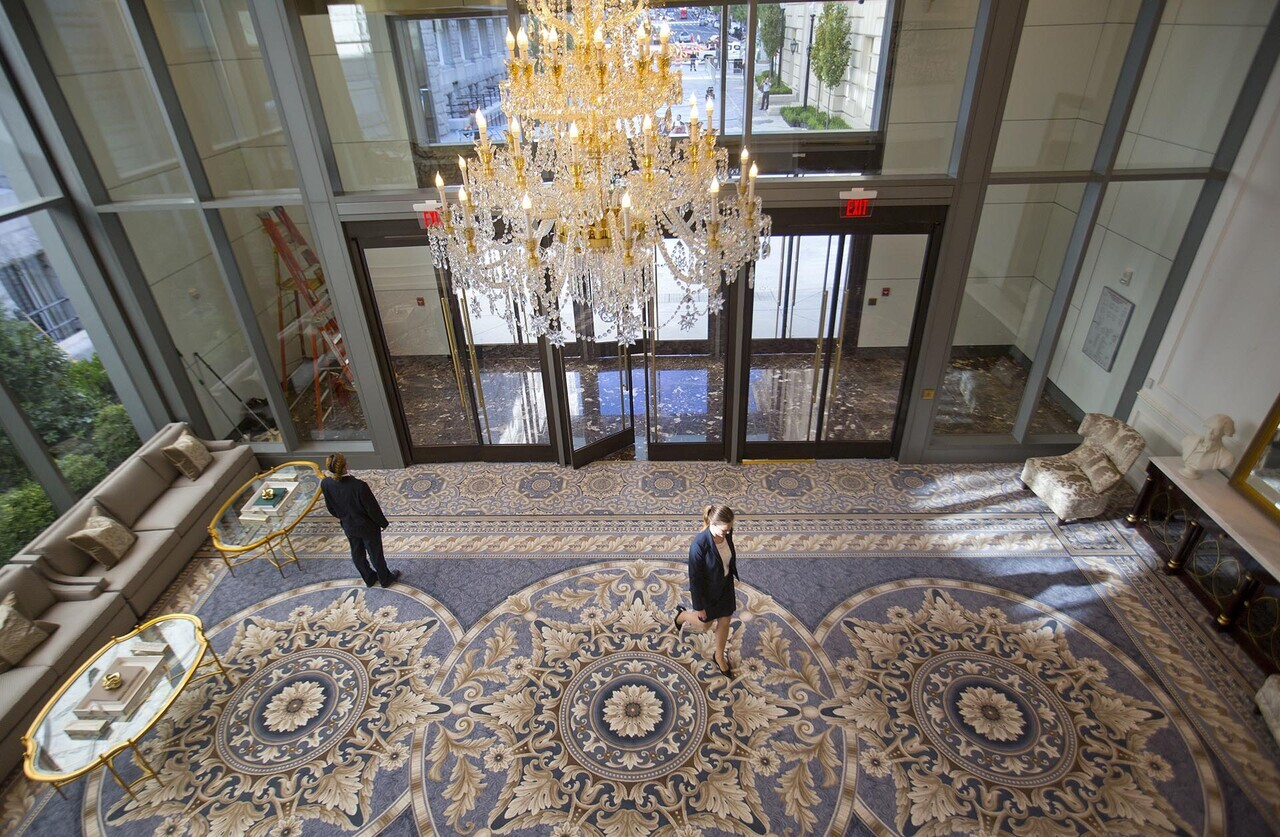 11th street lobby entrance to the Trump International Hotel in downtown Washington, Monday, Sept. 12, 2016 in Washington. The luxury hotel Donald Trump has built in an iconic downtown Washington building is set to open. The Trump International Hotel will begin serving guests Monday. There won' class=