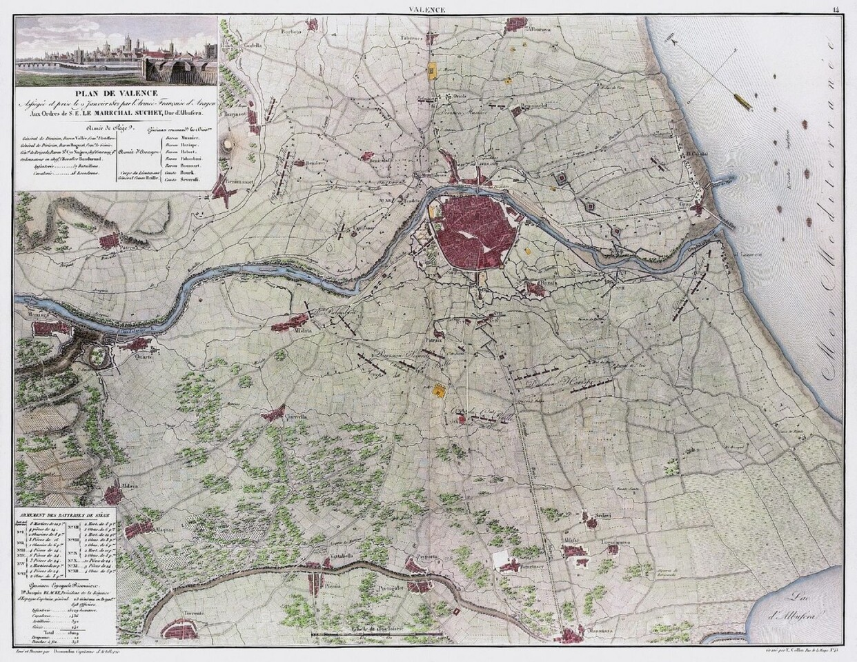 Plan de Valence asfiegeé et prise le 9 janvier 1812 par l' class=