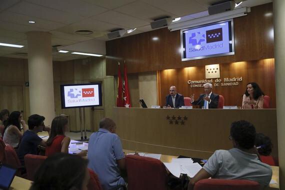 El consejero de Sanidad de la Comunidad de Madrid, Jesús Sánchez Martos, durante la rueda de prensa de esta tarde./ EFE