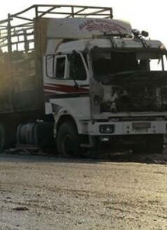 uno-de-los-camiones-destruido-por-los-ataques