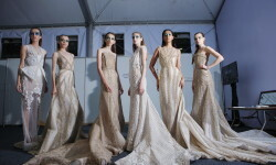 OCTOBER 22: Models pose backstage during the Indonesia Fashion Forward Designers 1 show at Jakarta Fashion Week 2017 in Senayan City, Jakarta