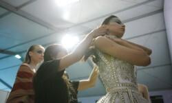 OCTOBER 22: Models pose backstage AQUA_REFLECTION during the  Designers 5 show at Jakarta Fashion Week 2017 in Senayan City, Jakarta