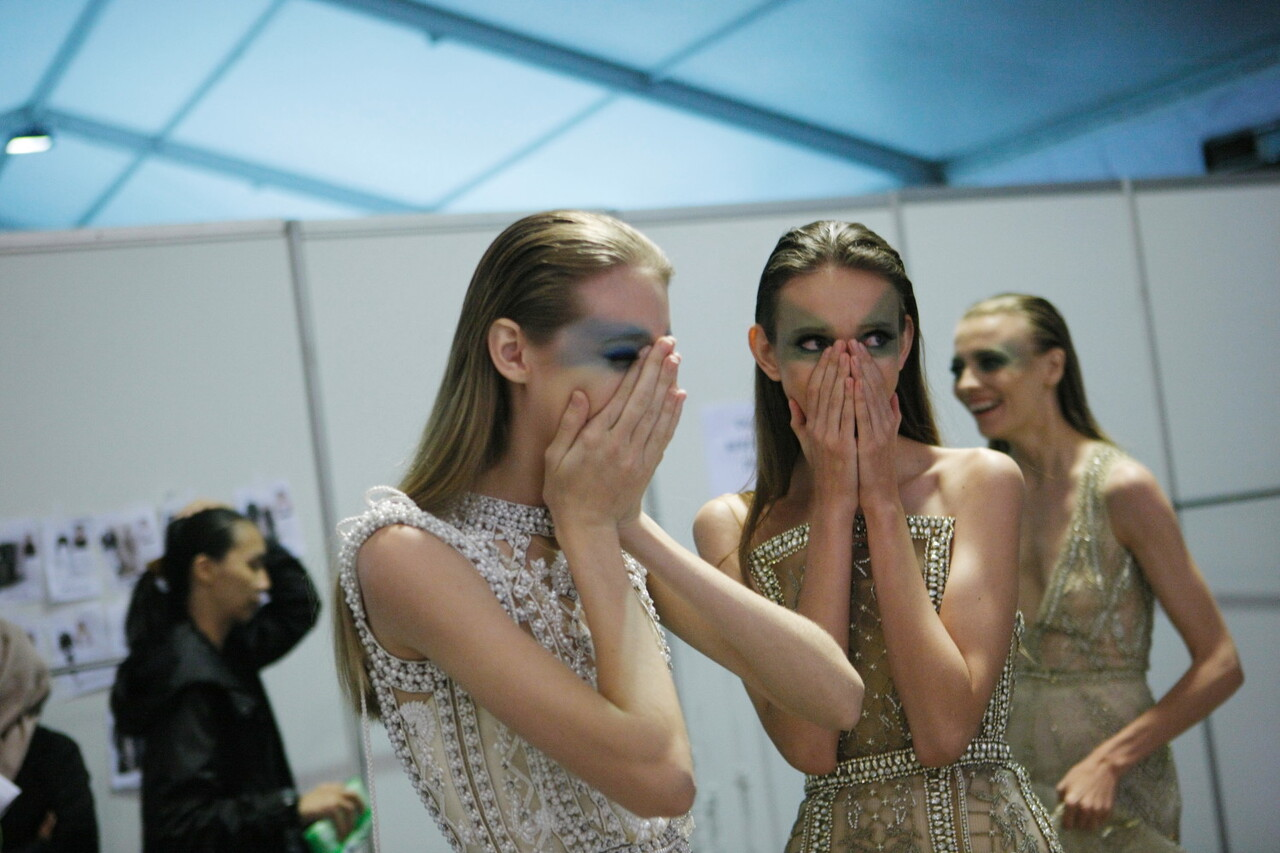 OCTOBER 22: Crews pose backstage prior to the Indonesia Fashion Forward 5 featuring TX ID by Tex Saverio show during the Jakarta Fashion Week 2017 in Senayan City, Jakarta.