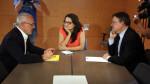 El secretario general de Podemos, Antonio Montiel, durante una reunión mantenida con el presidente de la Generalitat, Ximo Puig, y la vicepresidenta, Mónica Oltra. / ACN