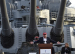 "(FILES) This file photo taken on September 16, 2015 shows Republican presidential candidate Donald Trump giving a national security speech aboard the World War II Battleship USS Iowa, in San Pedro, California.   Donald Trump said on November 9, 2016 he would bind the nation's deep wounds and be a president ""for all Americans,"" as he praised his defeated rival Hillary Clinton for her years of public service. / AFP PHOTO / ROBYN BECK"