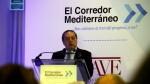 El president de l'Associació Valenciana d'Empresaris, Vicente Boluda, durant la presentació de la web que mostra l'evolució de les obres del corredor mediterrani. / JOSÉ SOLER / ACN
