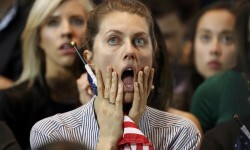 Supporters of U.S. Democratic presidential nominee Hillary Clinton react at her election night rally in Manhattan, New York, U.S., November 8, 2016.     REUTERS/Lucas Jackson