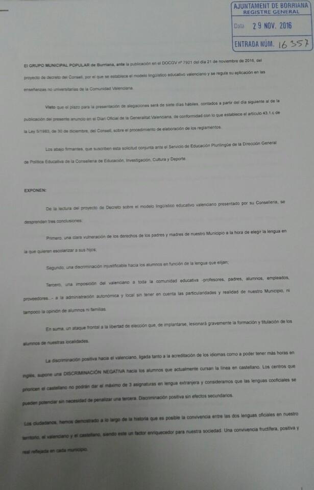 Instancia contra el decreto lingüístico del Consell (2)