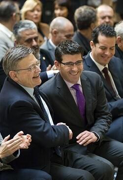 Los presidentes Jorge Rodríguez y Ximo Puig el día de presentación del Fondo de Cooperación Municipal. (Foto-Abulaila).