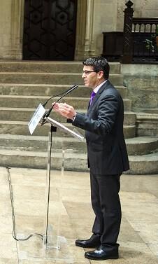 El presidente de la Diputación de Valencia, Jorge Rodríguez, en la presentación del Fondo de Cooperación Municipal. (Foto-Abulaila).