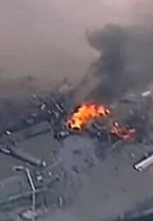 Imagen del accidente tomada por la televisión.