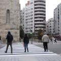 La concejalía de Movilidad sostenible abre el nuevo itinerario peatonal en el cruce de la plaza de San Agustín.