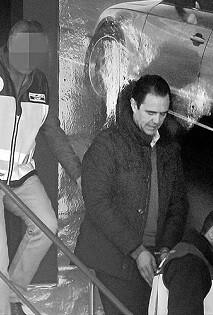 Miguel López durante su detención.