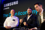 IMAGE DISTRIBUTED FOR SAMSUNG -   Samsung hold a panel discussion in London on Wednesday, February 15th, 2017 with a number of industry experts on the findings of a report on the Open Economy commissioned by Samsung. From left, Dr Marie Puybaraud, JLL, Anthony Bruce, PwC, Marcos Eguillor, Binaryknowledge and Nick Dawson, Samsung, chaired by journalist Sean Gear, far right in some shots. For the full report visit www.samsungatwork.com/openeconomy  (Fiona Hanson/AP Images for Samsung)