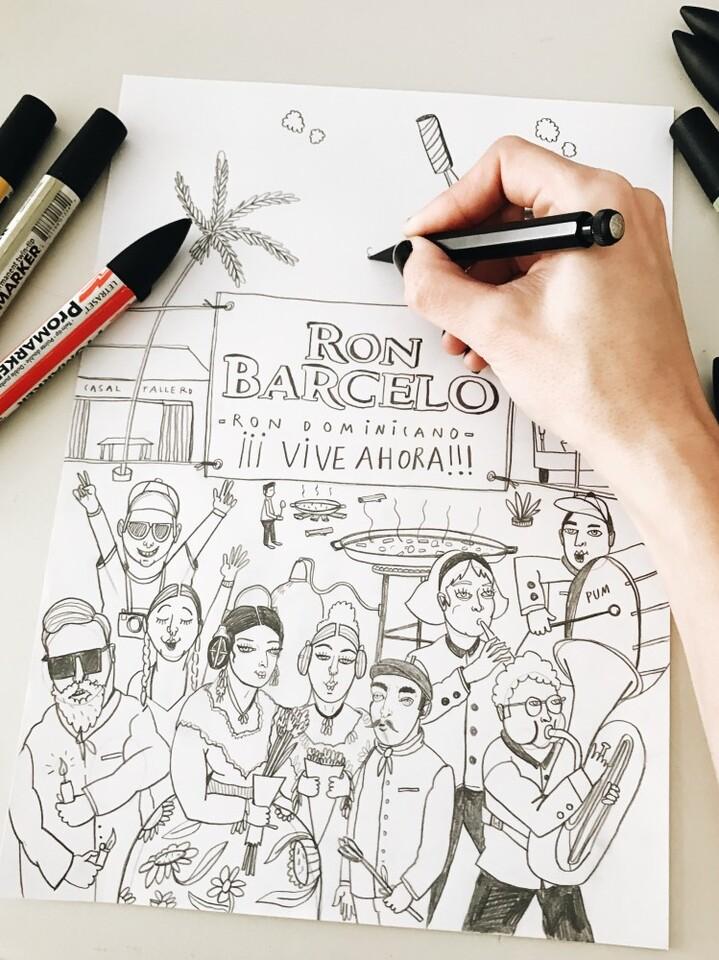 Boceto Ron Barceló Ed. Limitada Fallas .- Carla Fuentes